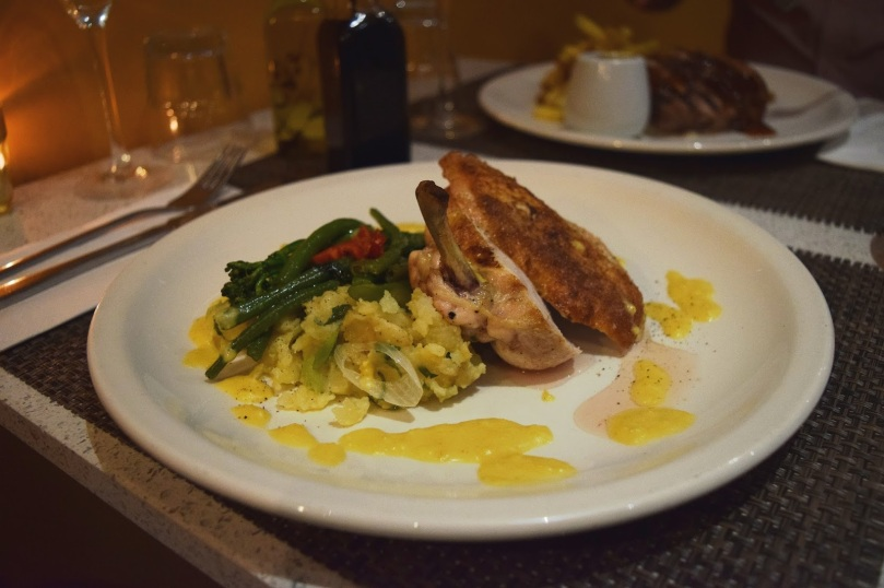 Breast of Chicken, Crushed New Potatoes, Broccoli, Chilli, Green Beans & Sweetcorn Cream (gf)