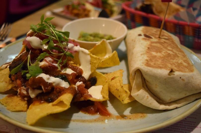 Burrito and pimped up nachos - Wahaca