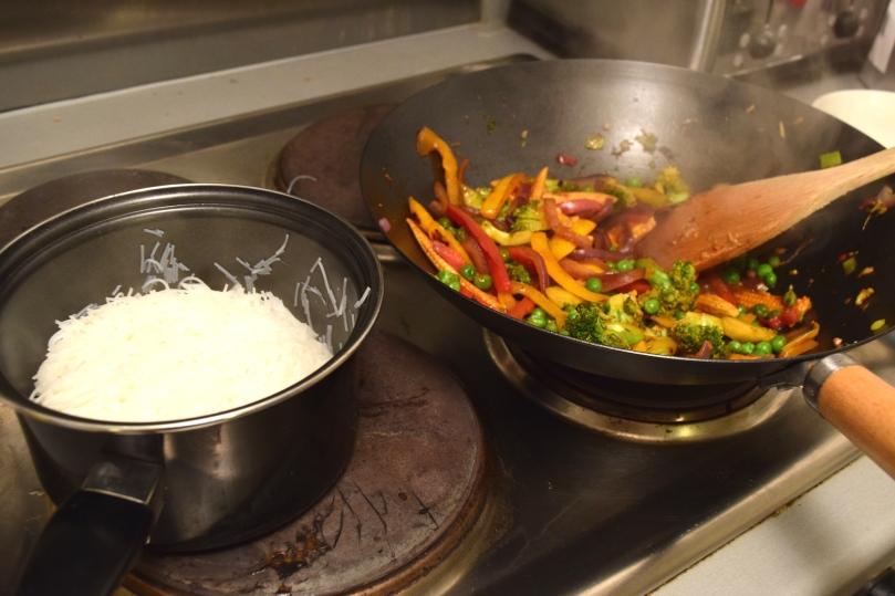 stir-fry vegetables and noodles