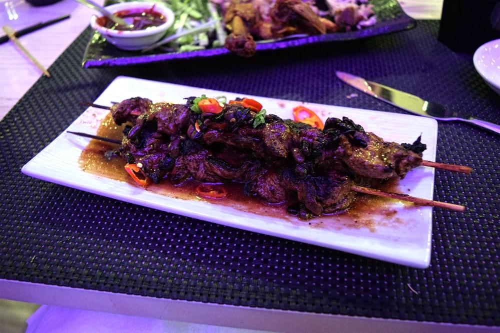Chinese black bean beef skewers